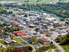 Aerial view of Campbellsville, Kentucky